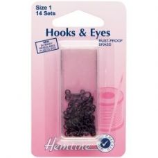 Hook and Eyes: Black - Size 1